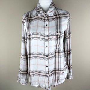 SUSINA Soft Button Down Shirt Plaid White Pink S